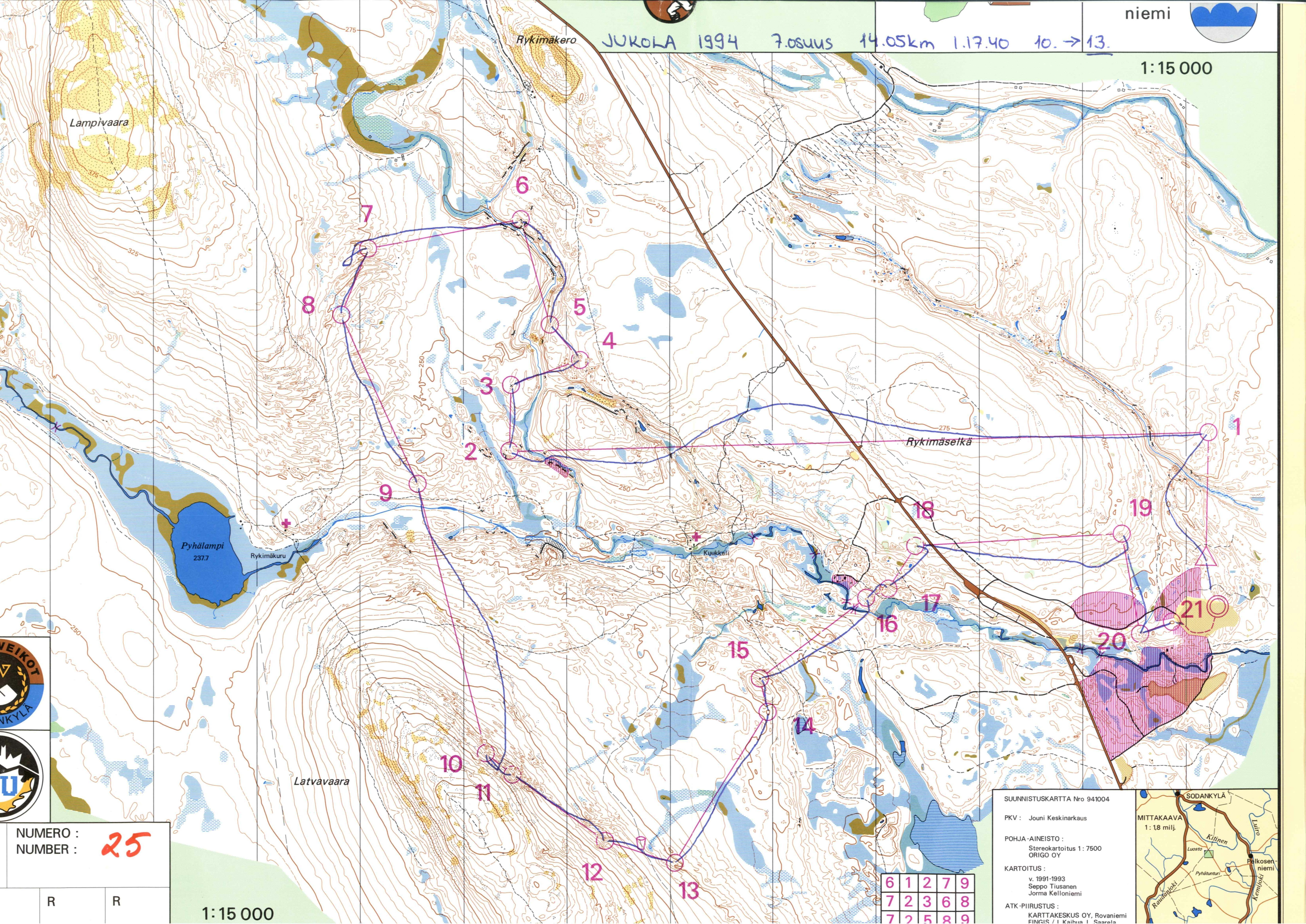 Jukola 1994 Leg 7essu January 1st 1994 Orienteering Map From